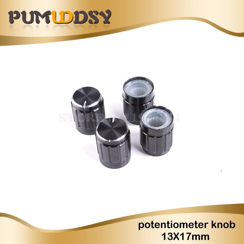 10pcs 13*17mm Aluminum Alloy Potentiometer 13*17 Knob Rotation Switch Volume Control Knob Black