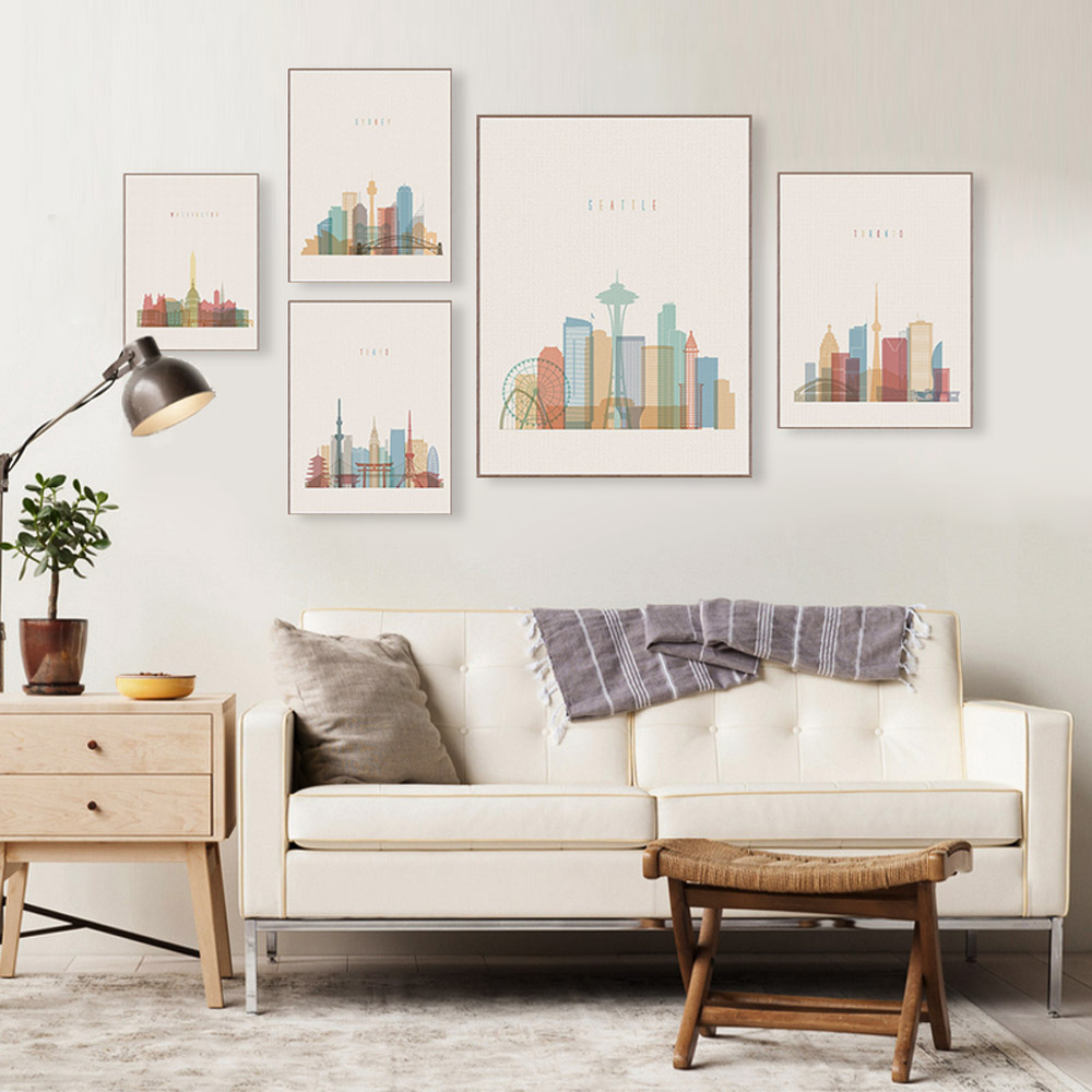 Abstract City London Moscow Big Canvas Art Poster Print Wall Picture Vintage Retro Living Room Home