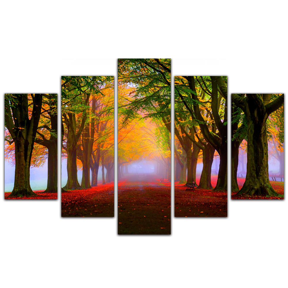 Unframed Canvas Painting Highway Trees Deciduous Vision Photo Picture Prints Wall Picture For Living Room Wall Art Decoration