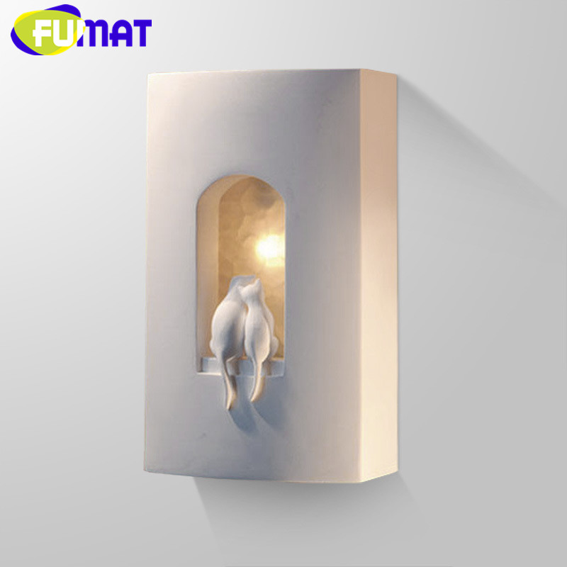 Plaster Cats Wall Lamp For Children Bedroom Bedside Light Aisle Stairs Wall Light Modern Engraved Cats Wall Sconce