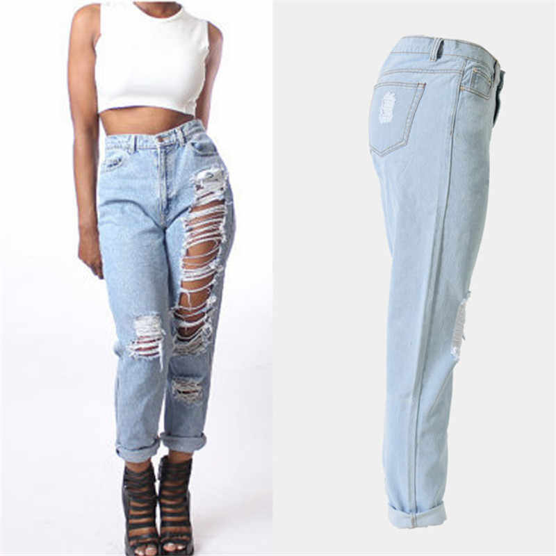 03001319b61877 ... Plus Size Ripped Jeans for Women mom boyfriend Pants Elasticity Black Hollow  Out High Waist Jeans ...