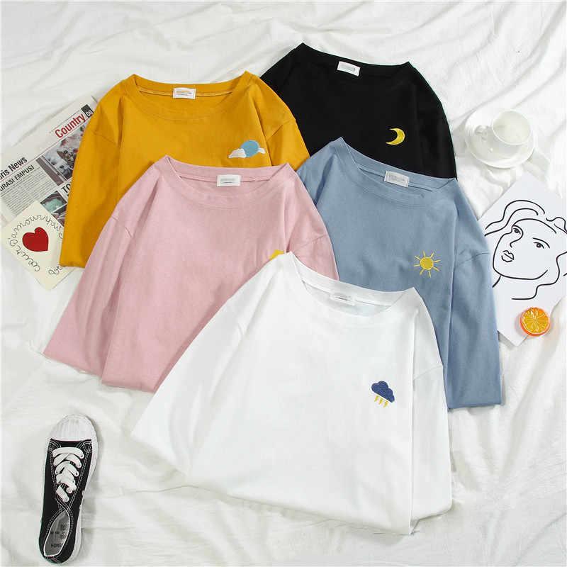原宿おかしい漫画刺繍 tシャツ夏半袖カジュアルルーズ Tシャツ韓国オル女性 tシャツトップ