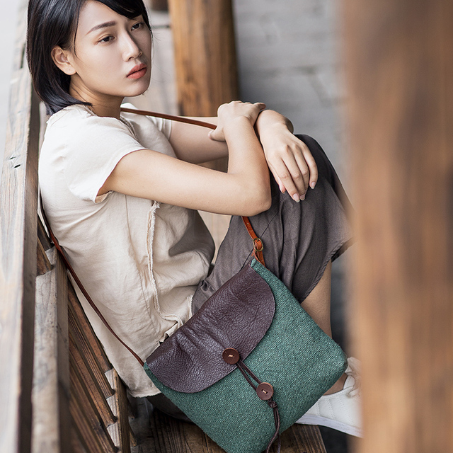 2017 women ctton canvas shoulder bags casual small linen Messenger bags female vintage cross body bags fashion flower FREE SHIPP
