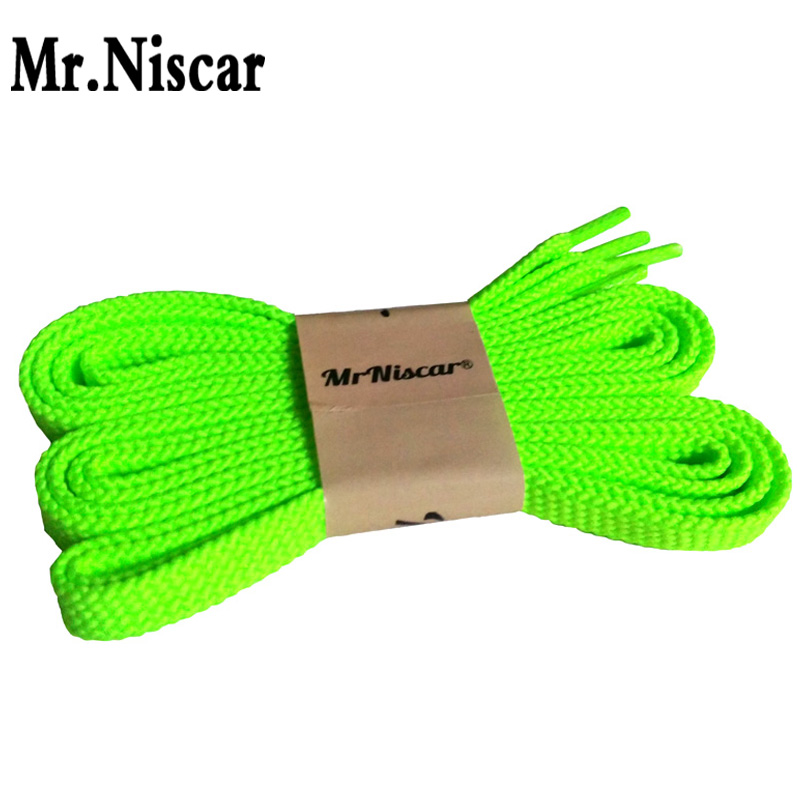 Mr.Niscar 10Pair Brand Polyester Shoelaces Fluorescent Green Flat Shoe Laces String Rope Sneaker Casual Shoelaces Long 100-180cm mr niscar 10 pair gray striped casual flat shoe laces fashion polyester shoe string men women athletic running shoelaces