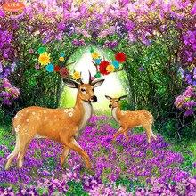 LIERdiamond painting animals deer,diamond embroidery 5d painting,diy diamond mosaicGarden landscape,full square picture