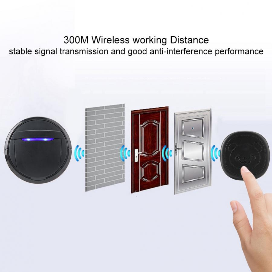 Wireless Touch Button Dog Door Bell Dog Training Older SOS Caller 1 Transmitter 1 Receiver/ 2 Transmitter 1 Receiver-1