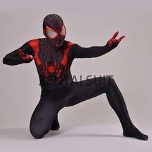 Ultimate Miles Morales Spider-Man Costume 3D Printing fullbody hot sale halloween Spiderman Cosplay suit free shipping