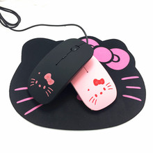 Pink Hello Kitty USB Wired Cable Mouse Girl Lovely Cartoon Mouse 1200DPI Optical KT Cat Mice