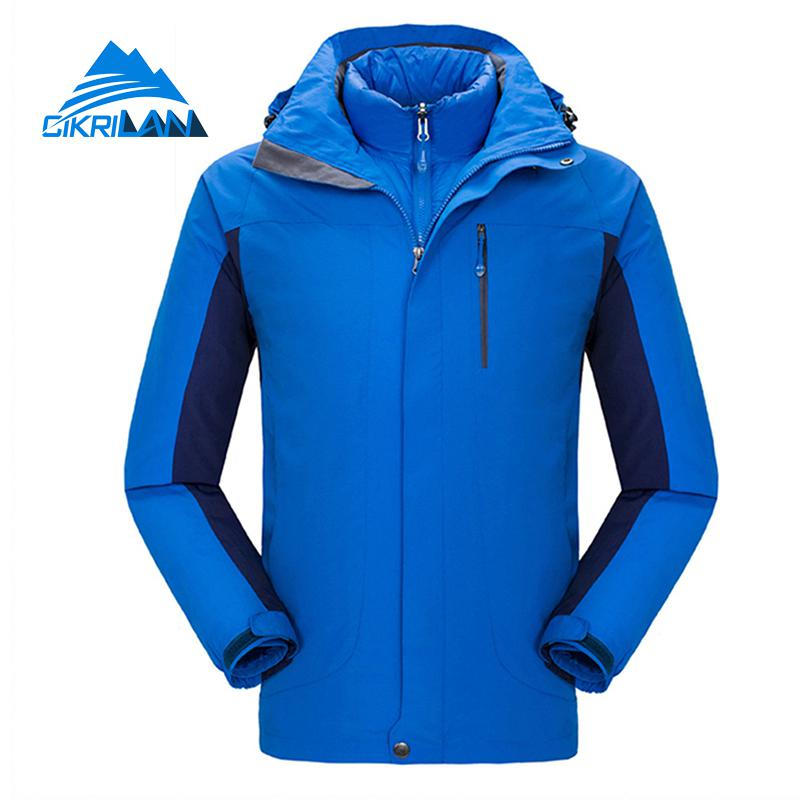 3in1 Winter Cotton Padded Inner Jackets Outdoor Sport Fishing Hiking Jacket Men Windbreaker Waterproof Coat Snowboard Ski Coats
