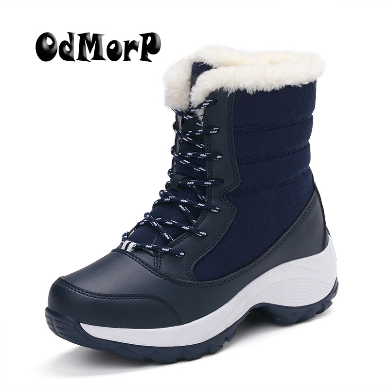 ODMORP Winter Women Snow Boots Keep Warm Fur Fashion Winter Women Shoes Thick Bottom Platform Boots Waterproof Big Size 35-41