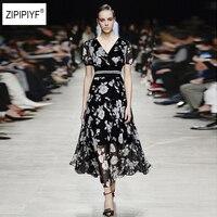 Spring Summer Black Vintage Floral Print Dresses Women V Neck Short Puff Sleeve Silk Dress Elastic Waist Slim Vestidos B1018