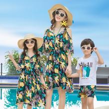 Hawaii Mother and Daughter Dresses Family Matching Outfits Mommy and Me Clothes Dad Son Clothing Sets Family Look Dress Clothes недорого