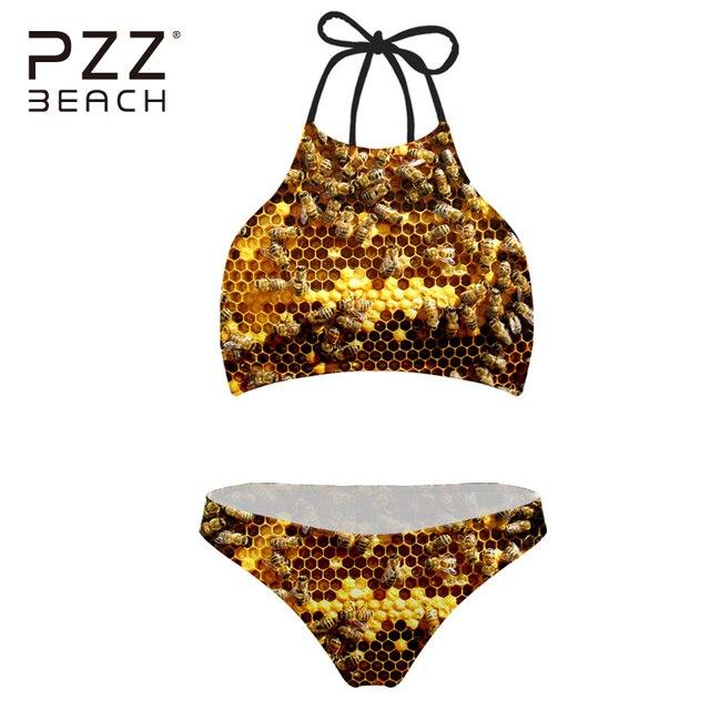 38658a2c2635 € 15.34 |2018 Sexy cuello alto Bikini Bee oro imprimir brasileño Monokini  traje de baño Push Up traje de baño Biquini Beach desgaste en Bikinis ...