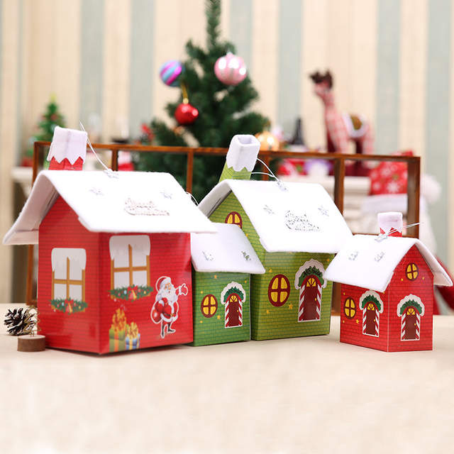 Placeholder Christmas Decoration Snow House Pendants DIY Paperboard Santa Claus Home Xmas Table Decorations Kids
