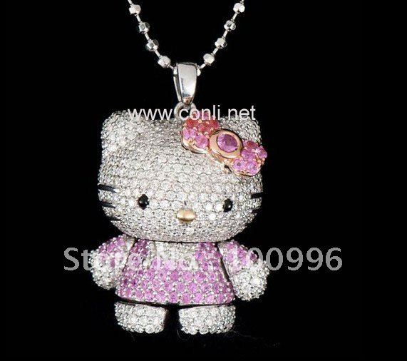 Hello Kitty Pendant ALP New Design 3D hello kitty wholesale Necklace Pendant Cute hello kitty  jewelry For Girls and Women Party Accessories