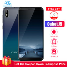 Cubot J5 5.5 Inch 18:9 Full Screen 2GB 16GB MT6580 Quad-Core Smartphone Android 9.0 2800mAh 3G Dual Nano Sim Celular Cellphone(China)