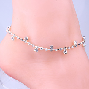 1 pc Silver Clear Crystal Ankl