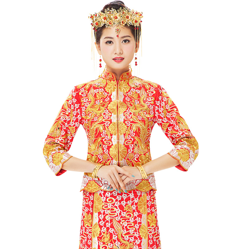 Cantonese Embroidery show clothing Gold silver dragon Phoenix gown Robe Dress spring Autumn Chinese style bridal evening dress in Cheongsams from Novelty Special Use