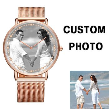 CL014 Private Label Mens Women Stainless Steel Watch Custom Your Own Logo Watch Trend Design Relogio Print Picture Couple Watch