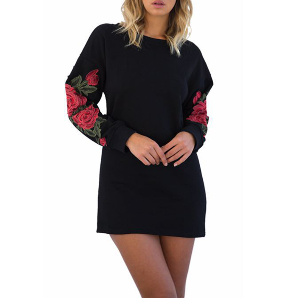 Detail Feedback Questions about Women Christmas Dress Flower Embroidery Sexy  High Wasit Mini Dress 2018 O Neck Autumn Winter Dresses Vestidos Straight  on ... f64dc89008185