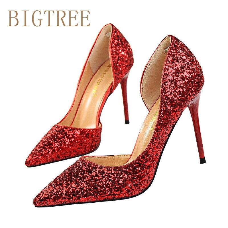BIGTREE Fashion Women Pumps Thin High Hee Women Shoes Hollow Toes Spring  Sweet  High Heels  Sequins Wedding Shoes RED Black мужское кольцо и перстень эстет мужское золотое кольцо est01т712118 17 5