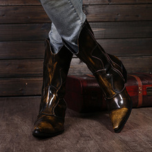 Western Cowboy Boots Men Medium-calf Genuine Leather
