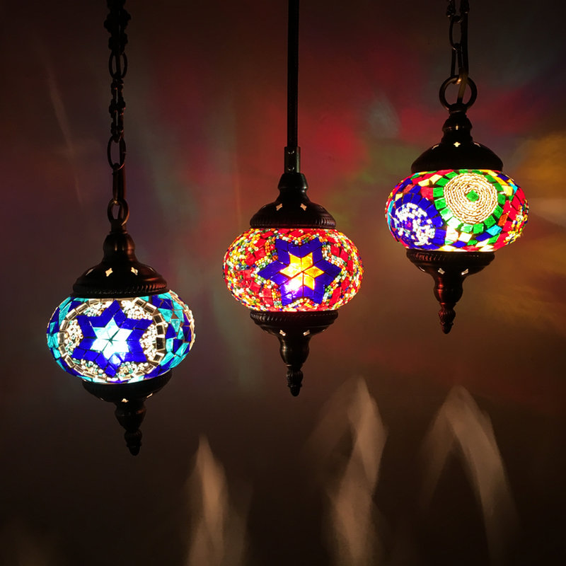 Colorful Pendant Lamp with Handmade Glass Lampshade Southeast Antique Turkish Hanging Lamp E14 Bulb for Bar