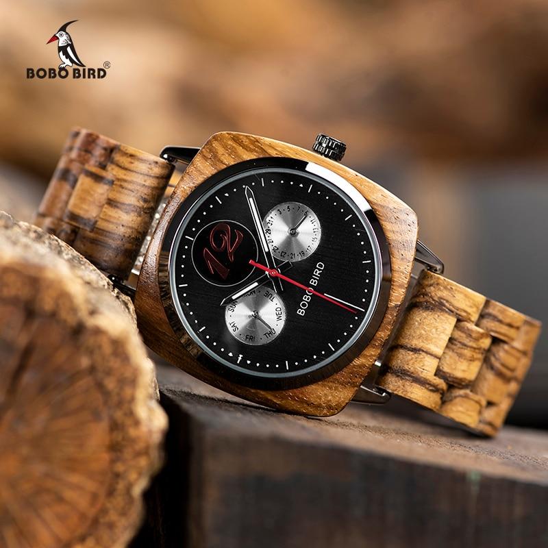 Reloj masculino BOBO pájaro reloj de los hombres de madera con estilo relojes para hombre relojes de pulsera en caja de regalo de madera erkek kol saati aceptar logotipo de