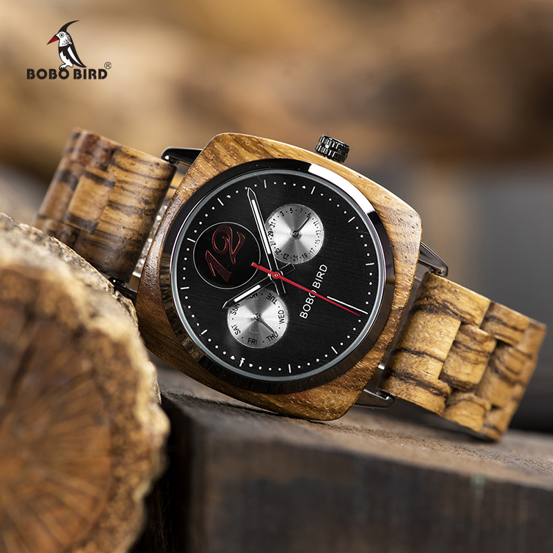 Relogio Masculino BOBO BIRD Men Watch Stylish Wooden Timepieces Mens Wrist Watches In Wood Gift Box Erkek Kol Saati Accept LOGO