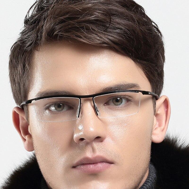 New Titanium TR90 Flexible Men Half Rimless Black Eyeglass Frames Glasses Optical Rx Able