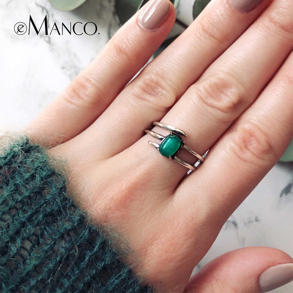 e-Manco 925 Sterling Silver Malay Jade Natural Stone Ring Unisex Multilayer Ring Fashion Party New Arrival Best Gift
