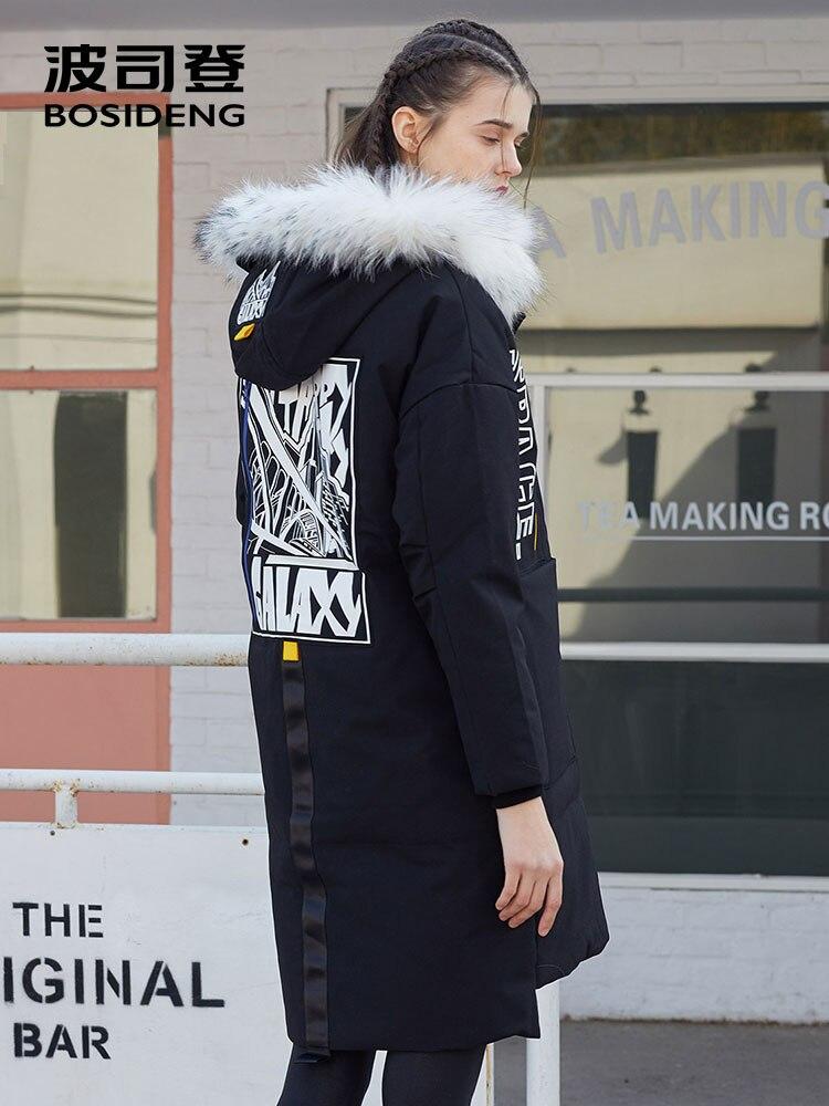 BOSIDENG lange unten jacke für frauen winter dicke unten parka lose wasserdichte hohe qualität weiß natürliche pelz kragen B70142104-in Daunenmäntel aus Damenbekleidung bei  Gruppe 3