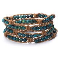 Women Men Round Bead Bracelet 6mm Natural Phoenix Lapis Lazuli Leather Charm Strand Handmade Woven Wrap Bracelet Jewelry
