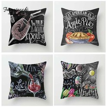 Fuwatacchi Blackboard Post Cushion Cover Apple Pie Coffee Hamberger Pillow for Home Chair Decoration Pillowcases 45*45 cm