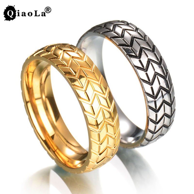 Qiao La 6MM Mens Tire Ring Vintage Stainless Steel Wedding Rings