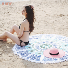 Muchique 2017 женщины пляж одеяло с кистями круглый пляж шарф мандала гобелен индийской пляжа бросить полотенце yoga mat