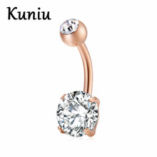 KUNIU Round belly button rings for women Surgical Piercing Body Jewelry Multicolor CZ navel piercing Dropshipping