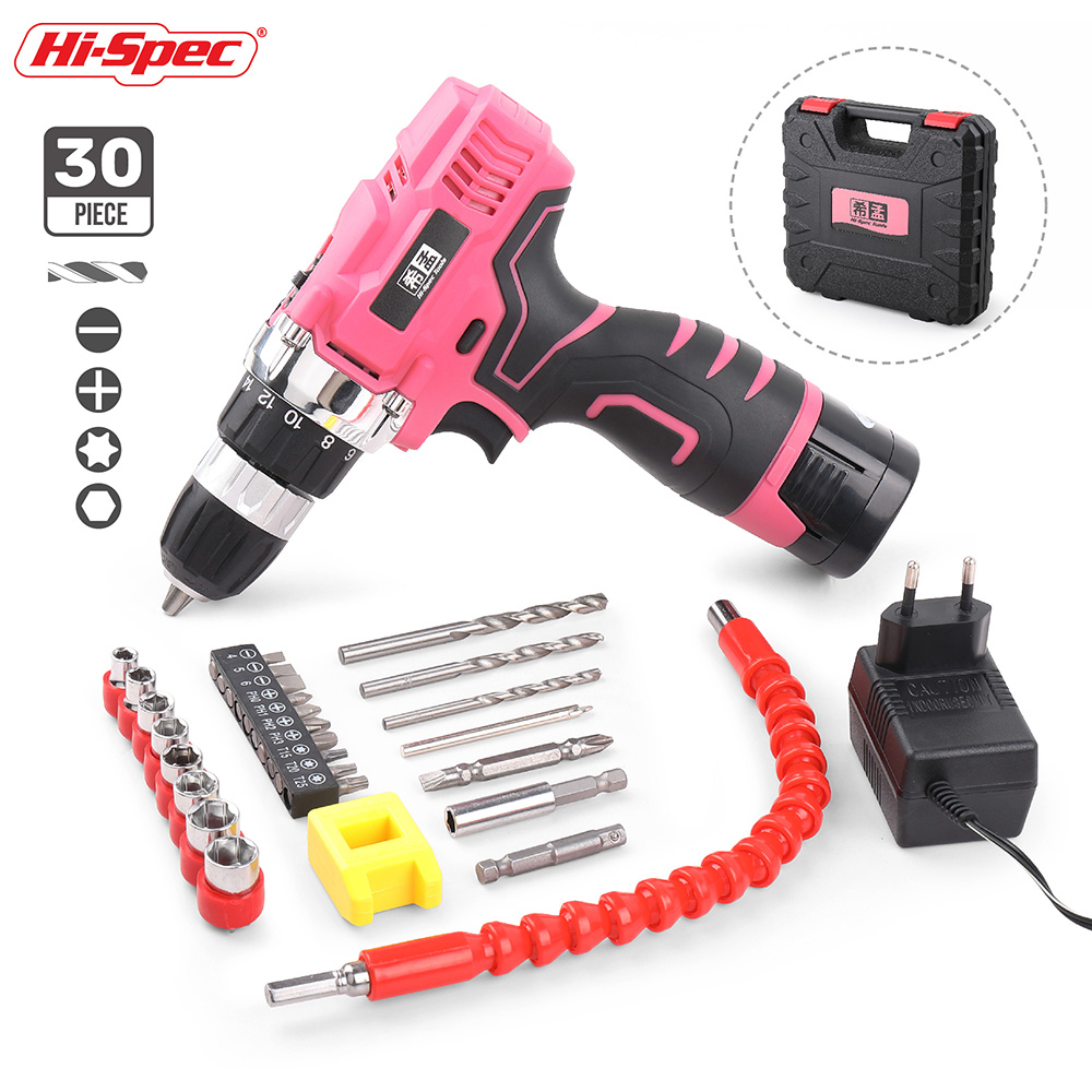 Hi-Spec 30 Piece Pink 16.8V Electric Screwdriver Household Hand Tool Set Kit Li-ion Battery Power Tool Set Girl Women Lady Tool new 30 piece precision mechanic electronics enthusiast tool set gift tool hand tool set