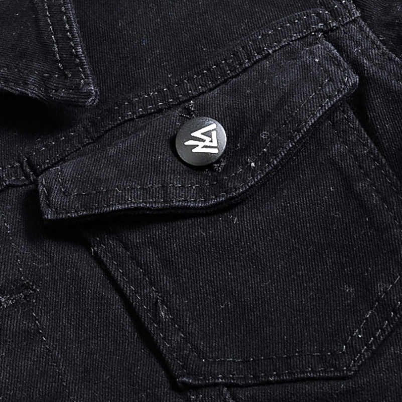 30083a11767 ... Sokotoo Men s slim full sleeve black denim jean jacket Casual Turn down  collar badge patch design ...