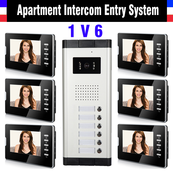 6 Units Apartment Intercom System 7 Inch Monitor Video Intercom Doorbell Door Phone Intercom Video Door Camera kits ...