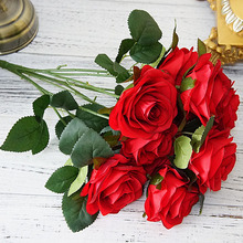 10 Heads Wedding Bridal Holding Artificial Rose Flowers Bouquet Real Touch Fake Flower for Home Garden Decoration Florals