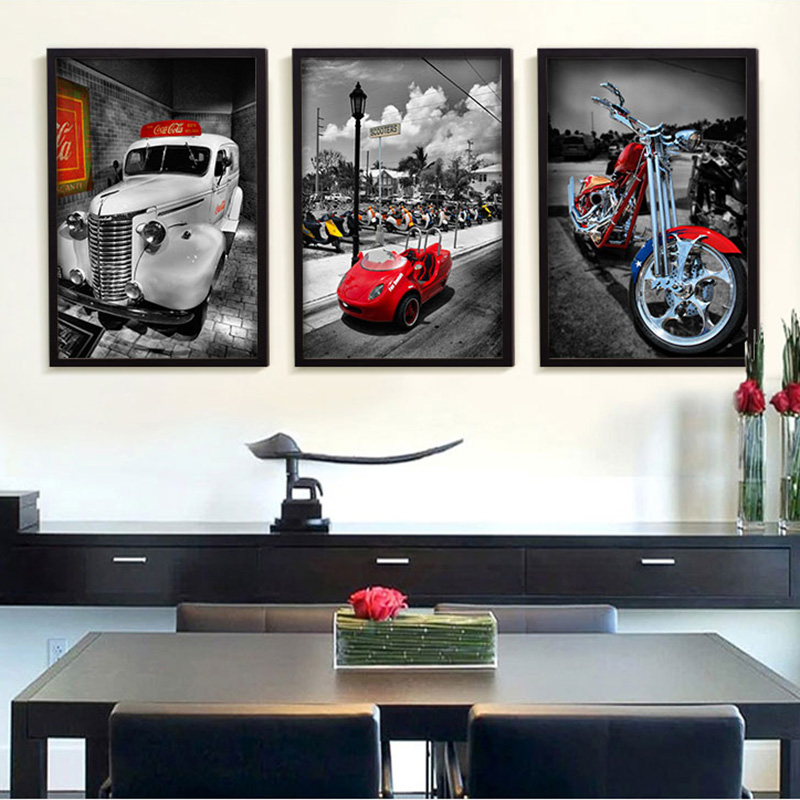 full house vintage classic cars motorcycle hd art prints wall pictures living room nordic home decor canvas paintings no frame