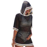 FUNOC Women Casual Black Blouse Shirt Women Spring Hooded Shirt Blouse Blusas 2017 Female Mesh Tops
