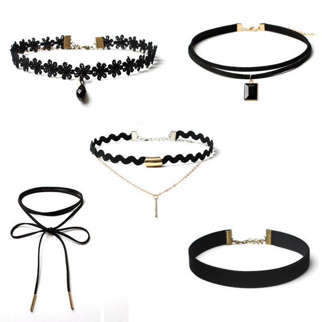 5 Pieces Choker Necklace Set Stretch Velvet Classic Gothic Tattoo Lace Choker Fa