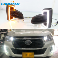 LED Daytime Running Light For Toyota Hilux Revo Rocco 2018 2019 Waterproof 12V Yellow Turn Signal Indicator Light Bumper LED DRL