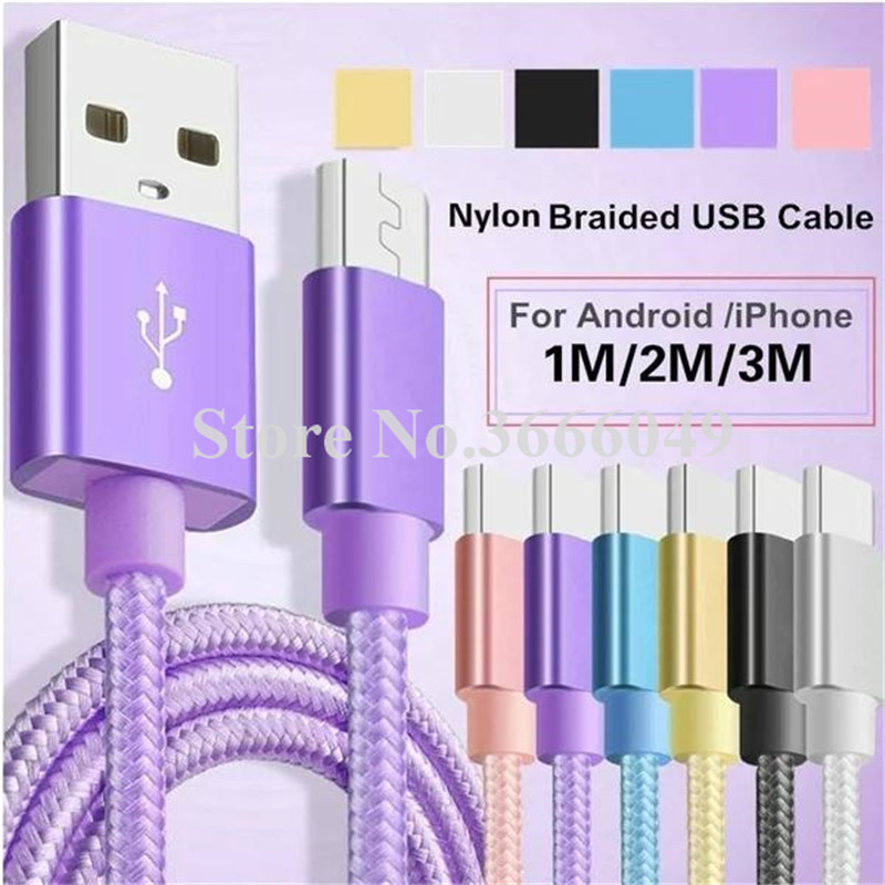 200pcs 1m 2m 3m TYPE C USB Cable Nylon Braided Data Sync cable accessory bundles for