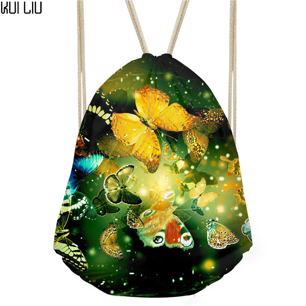 Customized Fitness Yoga Sports Women Backpack Small Drawstring Bag 3D Butterfly Printed Female Travel Havaian A Bags