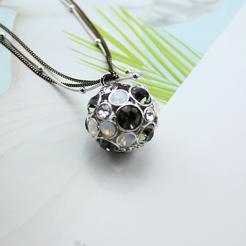 New Fashion 30MM Grey Crystal Protein Hollow Ball Long Chain Pendant Necklace For Women Jewelry, Item No.: LN0622