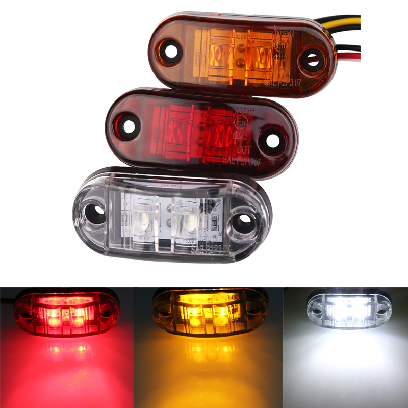 10pc 24/12v Led Side Marker Blinker Lights for Trailer Trucks Piranha Caravan Side Clearance Marker Light Lamp Amber Red White 4pcs 2 red 2 amber hd led fender bed side marker lights smoked lens for dodge ram