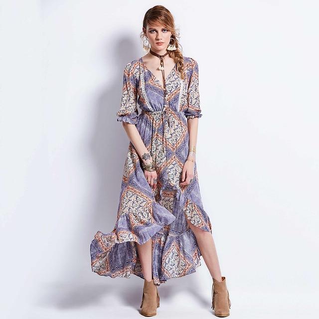 938ea0e6300 Multicolor Floral Print Dress Button Irregular Split Front Flare Beach Wear  Boho Maxi Dress Women Short Sleeve halter Long Dress